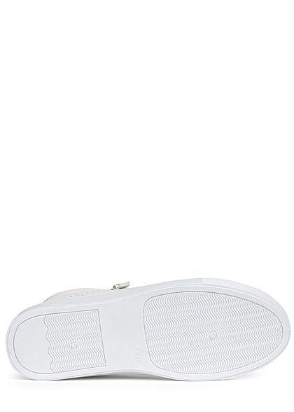 Hailys Damen Schuh Kunstleder Sneaker Zipper seitlich off weiss