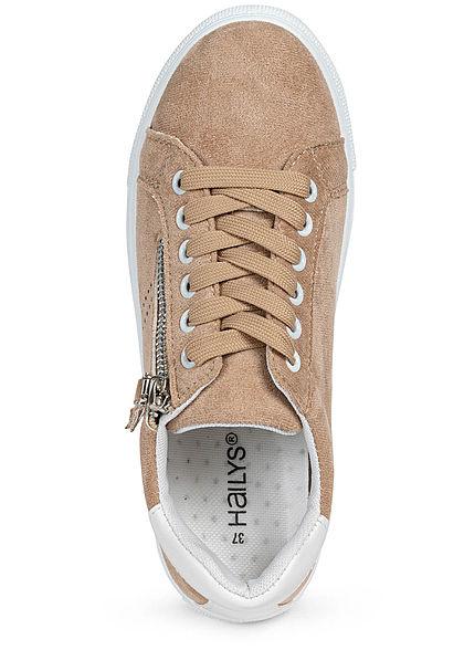 Hailys Damen Schuh Kunstleder Sneaker Zipper seitlich beige weiss