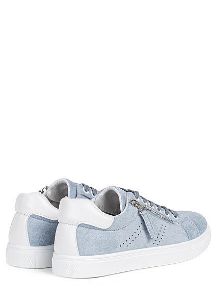 Hailys Damen Schuh Kunstleder Sneaker Zipper seitlich hell blau weiss