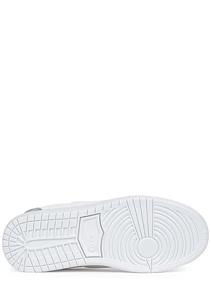 Hailys Damen Schuh Kunstleder Sneaker 3-Tone teilw. Velour- Optik weiss rose blau