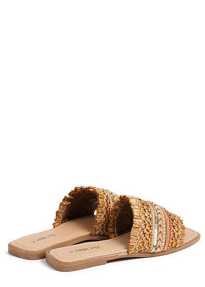 Hailys Damen Schuh Sandalette mit Strass Glitzer beige