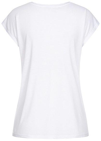 Hailys Damen T-Shirt Filled Love Herz Print Pailletten Steinchen Glitzer weiss gold