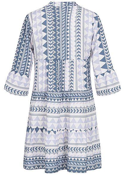 Hailys Damen 3/4-Arm V-Neck Tunika Kleid Azteken Print Volantärmel blau weiss