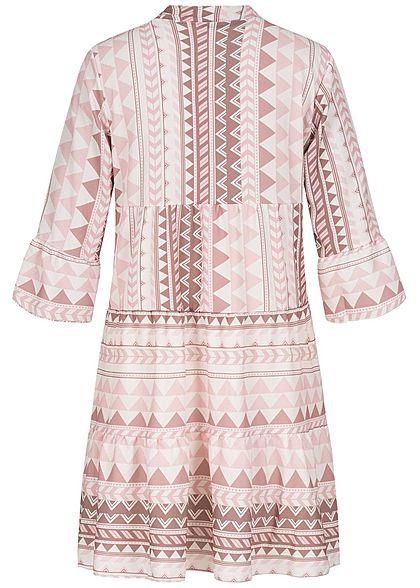 Hailys Damen 3/4-Arm V-Neck Tunika Kleid Azteken Print Volantärmel blush rosa beige