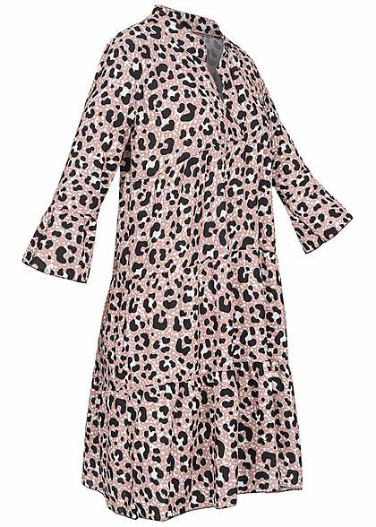 Hailys Damen 3/4-Arm V-Neck Tunika Kleid Leo Print Volantärmel blush rosa beige