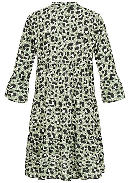 Hailys Damen 3/4-Arm V-Neck Tunika Kleid Leo Print Volantärmel soft grün
