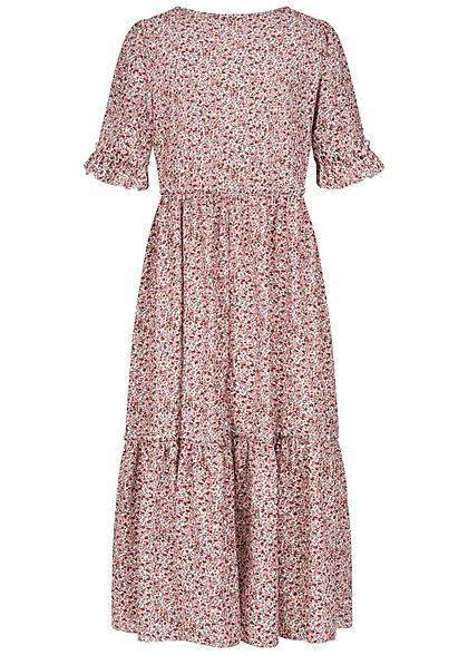 Hailys Damen 1/2-Arm Maxi Stufen Kleid Blumen Muster rosa weiss