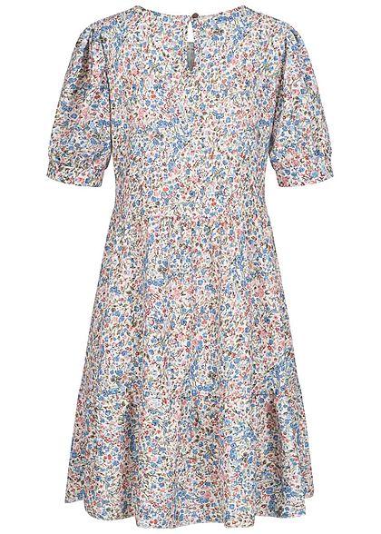 Hailys Damen Stufen Kleid mit Volants Blumen Muster hellblau multicolor