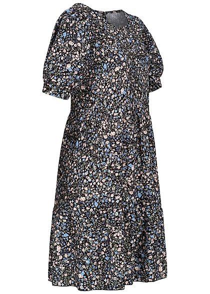 Hailys Damen Stufen Kleid mit Volants Blumen Muster schwarz blau