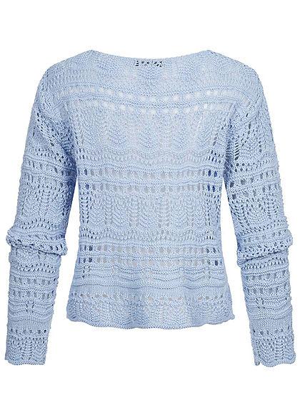 Hailys Damen V-Neck Grobstrick Pullover Raffung vorne hell blau