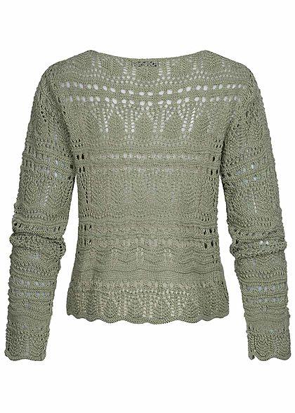 Hailys Damen V-Neck Grobstrick Pullover Raffung vorne khaki grün