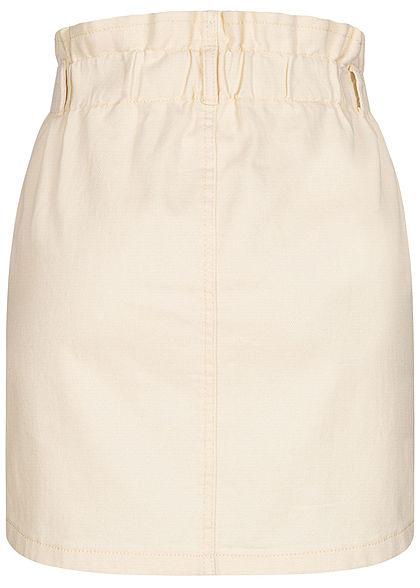 ONLY Damen Mini Paperbag Jeans Rock 2-Pockets High-Waist ecru beige