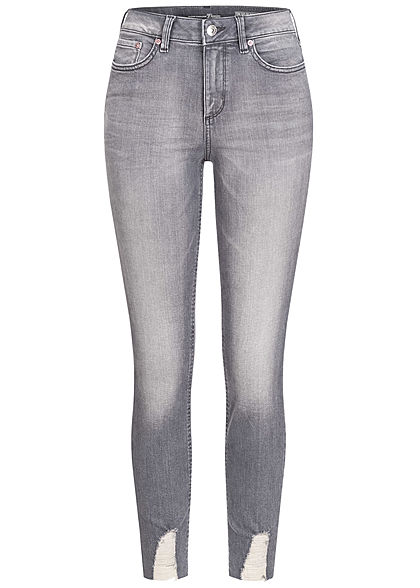 Tom Tailor Damen Extra Skinny Ankle Jeans Hose High-Waist 5-Pockets used mid stone grau - Art.-Nr.: 21030928