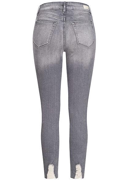 Tom Tailor Damen Extra Skinny Ankle Jeans Hose High-Waist 5-Pockets used mid stone grau