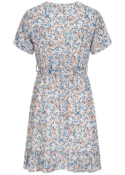 Hailys Damen V-Neck Mini Wickel Kleid inkl. Bindegürtel Blumen Muster blau weiss