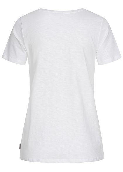 Eight2Nine Damen Basic V-Neck T-Shirt mit Brusttasche weiss