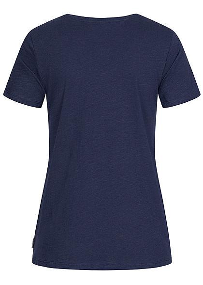 Eight2Nine Damen Basic V-Neck T-Shirt mit Brusttasche navy dunkel blau