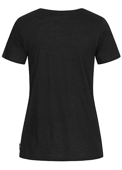 Eight2Nine Damen Basic V-Neck T-Shirt mit Brusttasche schwarz