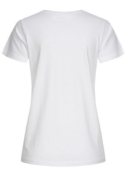 Sublevel Damen Basic T-Shirt Yoga Baby Bär Print weiss