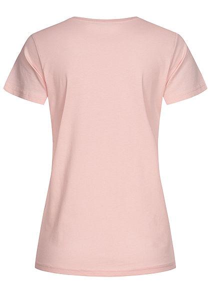 Sublevel Damen Basic T-Shirt Hanging Loose Faultier Print peachskin rosa