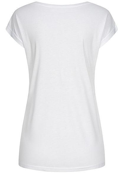 Sublevel Damen T-Shirt Believe Print Pailletten weiss kupfer