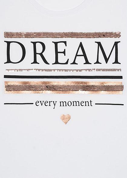 Sublevel Damen T-Shirt Dream Print Pailletten weiss rosa