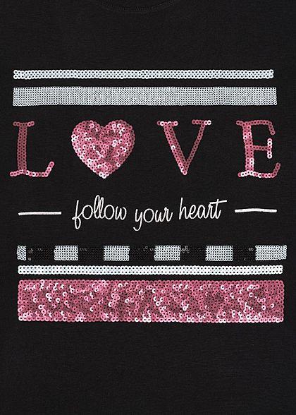 Sublevel Damen T-Shirt Love Print Pailletten schwarz rot weiss