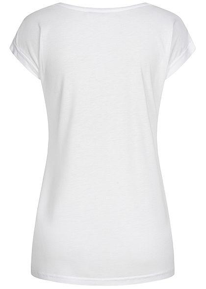 Sublevel Damen T-Shirt Bonjour Print Pailletten weiss rot