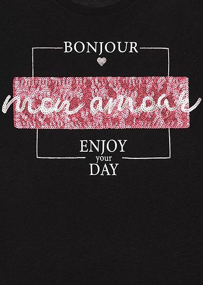 Sublevel Damen T-Shirt Bonjour mon Amour Print Pailletten schwarz weiss rot