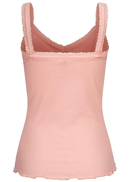 Fresh Made Damen V-Neck Ribbed Top mit Spitzenbesatz Wellen am Saum peachskin rosa