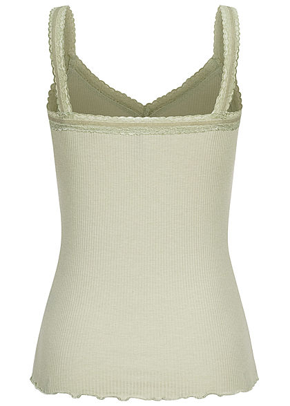 Fresh Made Damen V-Neck Ribbed Top mit Spitzenbesatz Wellen am Saum greyish grün