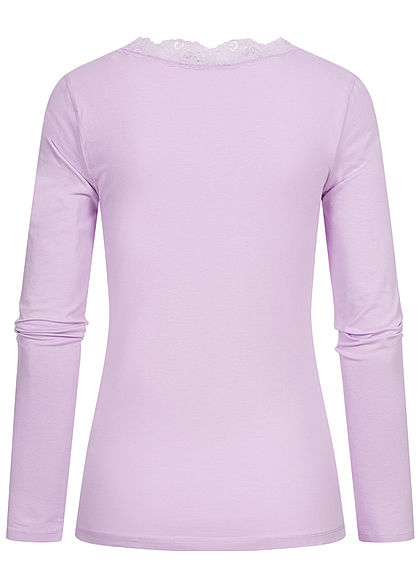 Fresh Made Damen V-Neck Spitzen Longsleeve tender lila