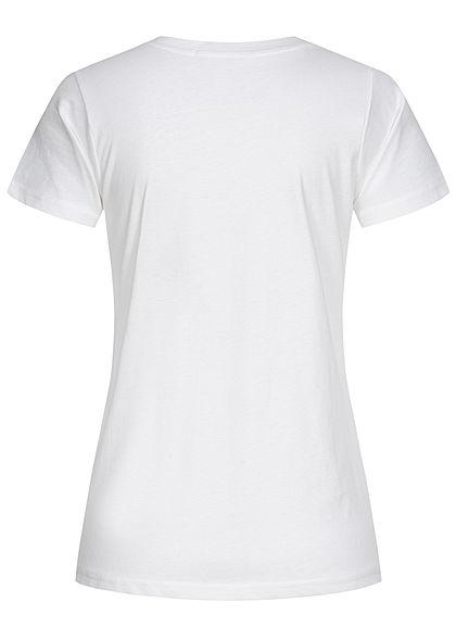 Stitch & Soul Damen T-Shirt mit Faceprint vorne weiss