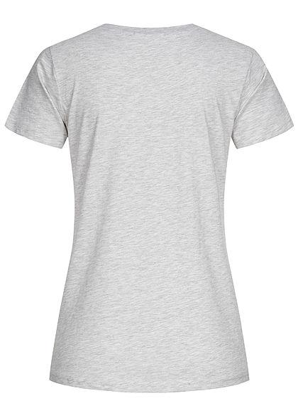 Stitch & Soul Damen T-Shirt mit Faceprint vorne hell grau