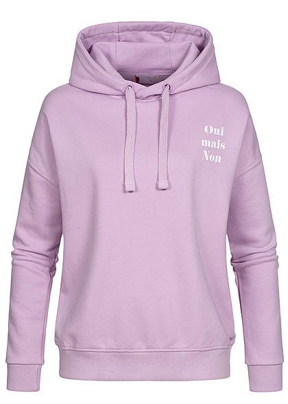 Stitch & Soul Damen Oversized Hoodie Kapuze Schriftzug vorne & hinten tender lilac