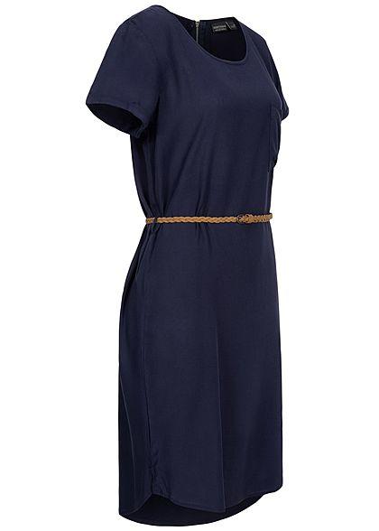 Eight2Nine Damen Viskose Kleid inkl. Flechtgürtel Brusttasche navy dunkel blau