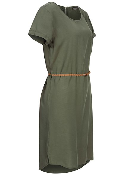 Eight2Nine Damen Viskose Kleid inkl. Flechtgürtel Brusttasche nature oliv grün