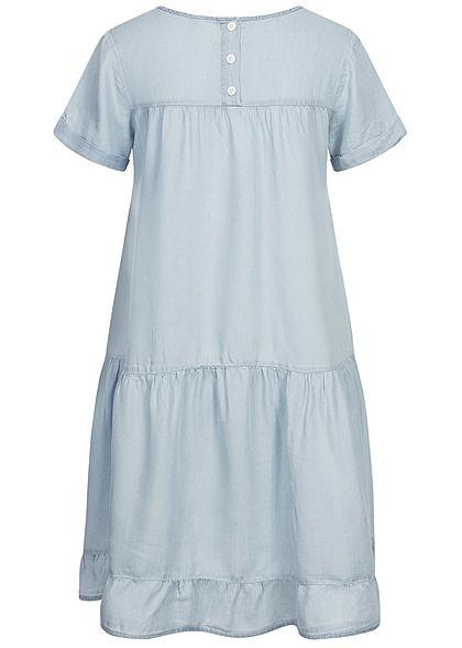 Stitch & Soul Damen Midi Puffer Kleid Knopfleiste hinten hell blau denim