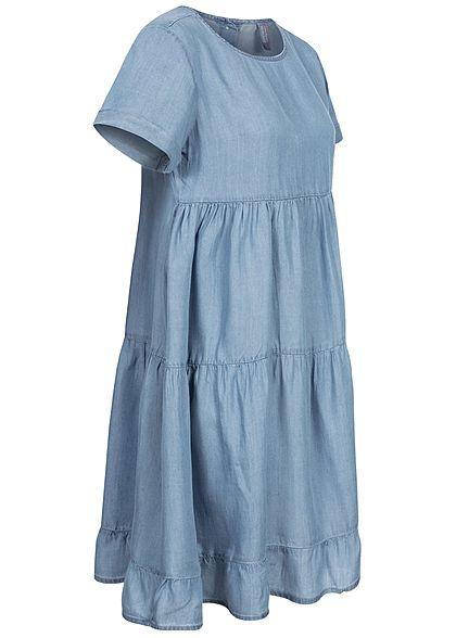 Stitch & Soul Damen Midi Puffer Kleid Knopfleiste hinten medium blau denim