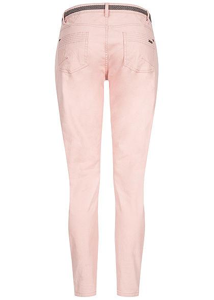 Urban Surface Damen Casual Fit Jeans Hose inkl. Flechtgürtel 5-Pockets peachskin rosa