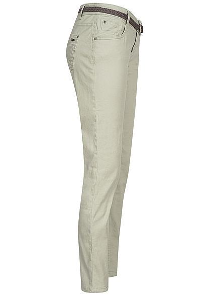 Urban Surface Damen Casual Fit Jeans Hose inkl. Flechtgürtel 5-Pockets light greyish grün