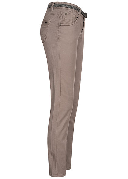 Urban Surface Damen Casual Fit Jeans Hose inkl. Flechtgürtel 5-Pockets taupe grau