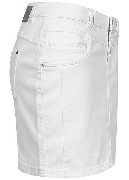 Sublevel Damen Mini Jeans Rock 5-Pockets ivory weiss