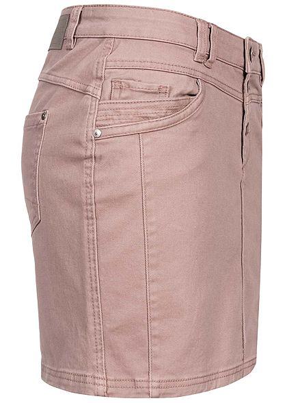 Sublevel Damen Mini Jeans Rock 5-Pockets pale mauve rosa