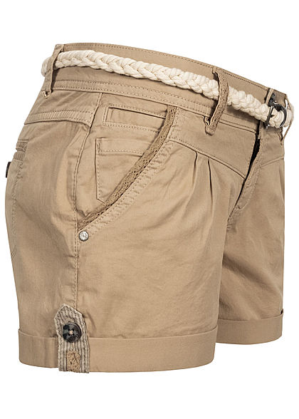 Eight2Nine Damen kurze Shorts 5-Pockets inkl. Flechtgürtel natural beige