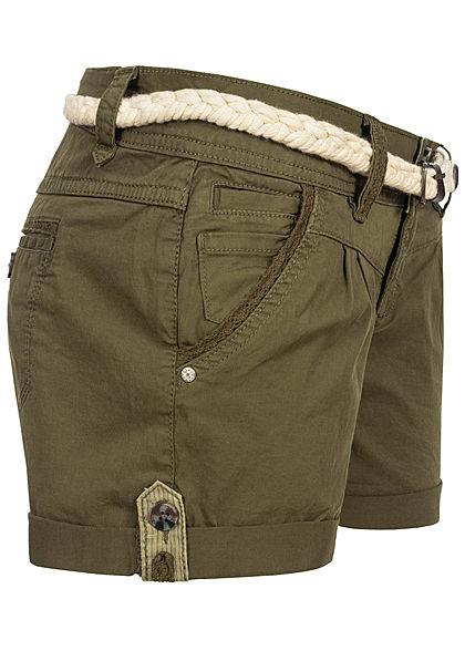 Eight2Nine Damen kurze Shorts 5-Pockets inkl. Flechtgürtel ivy oliv grün