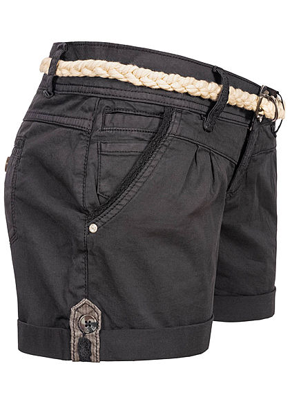 Eight2Nine Damen kurze Shorts 5-Pockets inkl. Flechtgürtel anthrazit grau