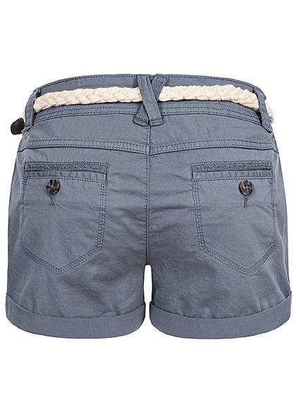 Eight2Nine Damen kurze Shorts 5-Pockets inkl. Flechtgürtel bleached indigo