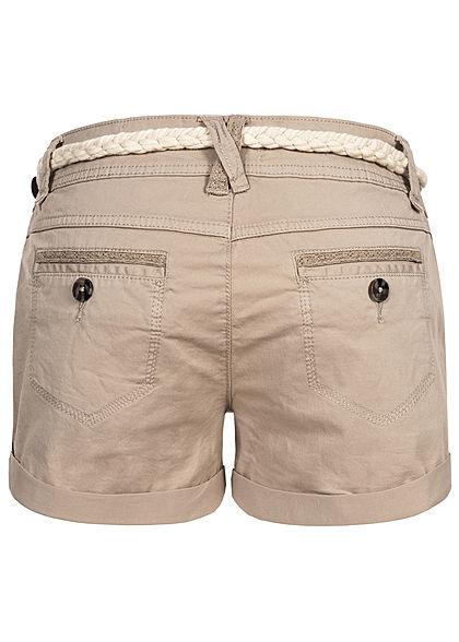 Eight2Nine Damen kurze Shorts 5-Pockets inkl. Flechtgürtel string beige