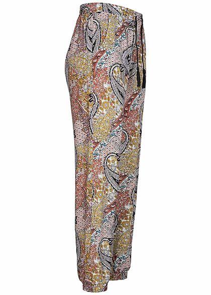 Hailys Damen Viskose Sommer Hose 2-Pockets Gummizug am Saum Paisley Muster multicolor